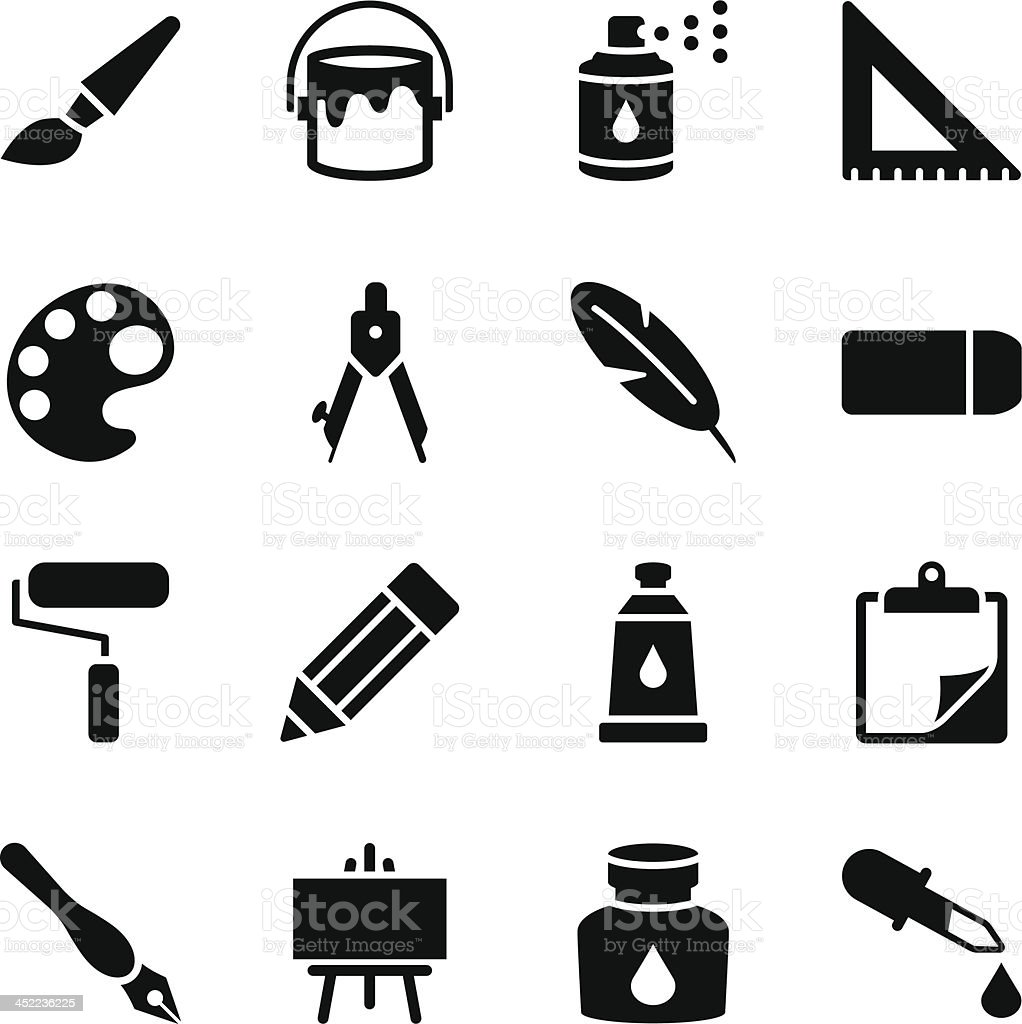 Drawing and Painting Icons vector art illustration