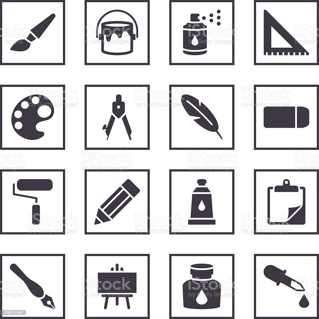 Drawing and Painting Symbols vector art illustration