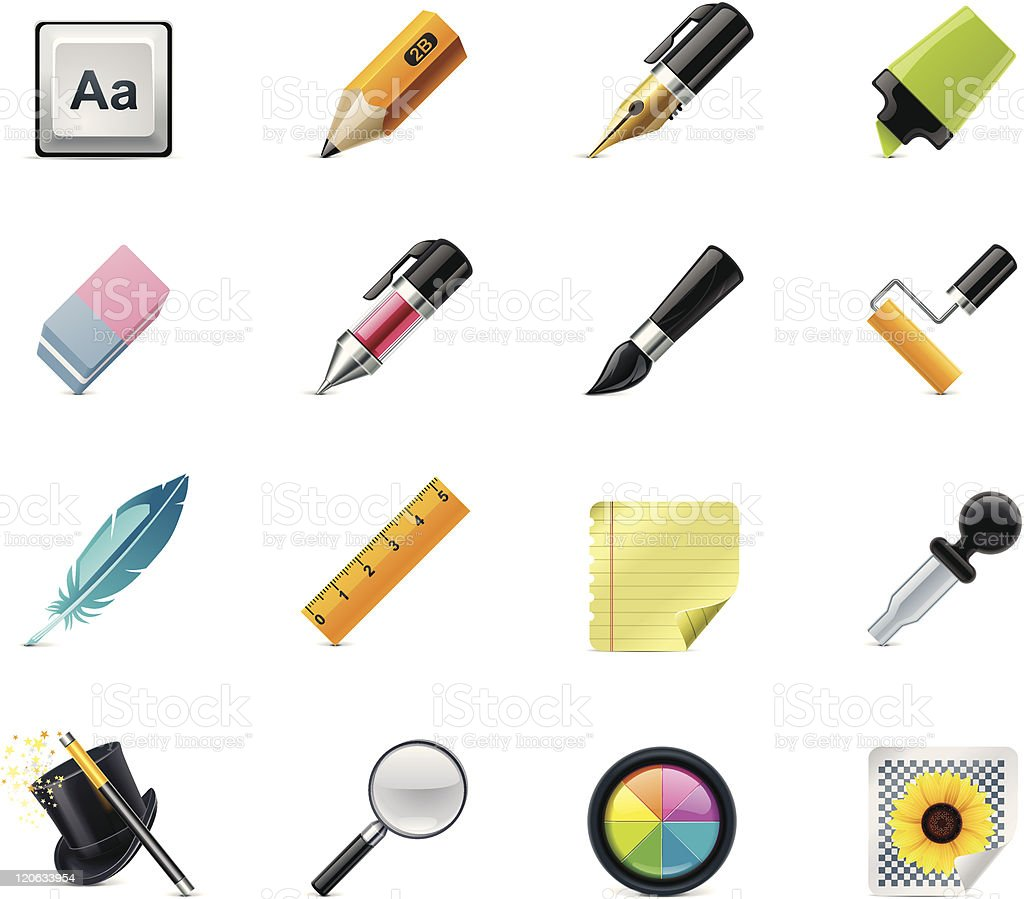 Drawing and Writing tools icon set royalty-free stock vector art