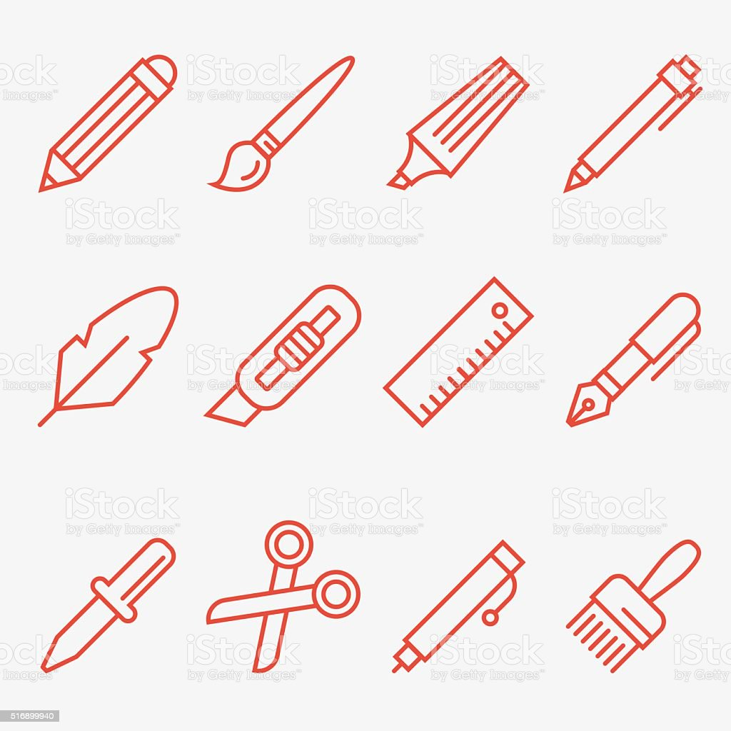 Drawing and Writing tools icon set vector art illustration