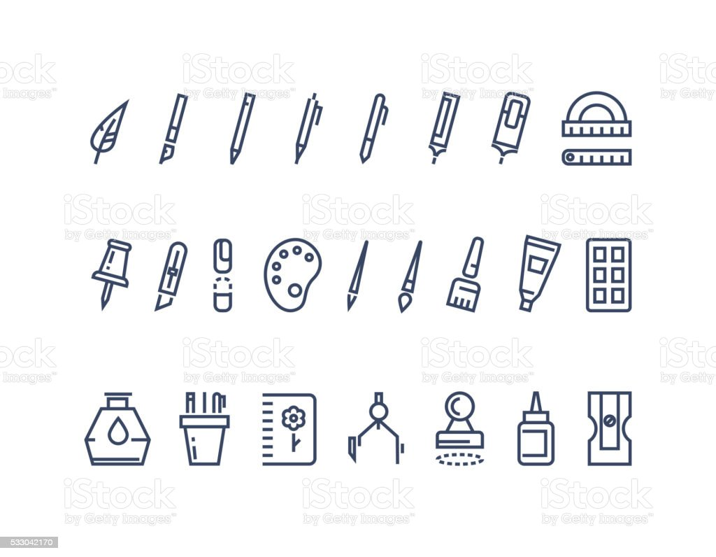 Drawing and writing tools. Line vector icons set vector art illustration