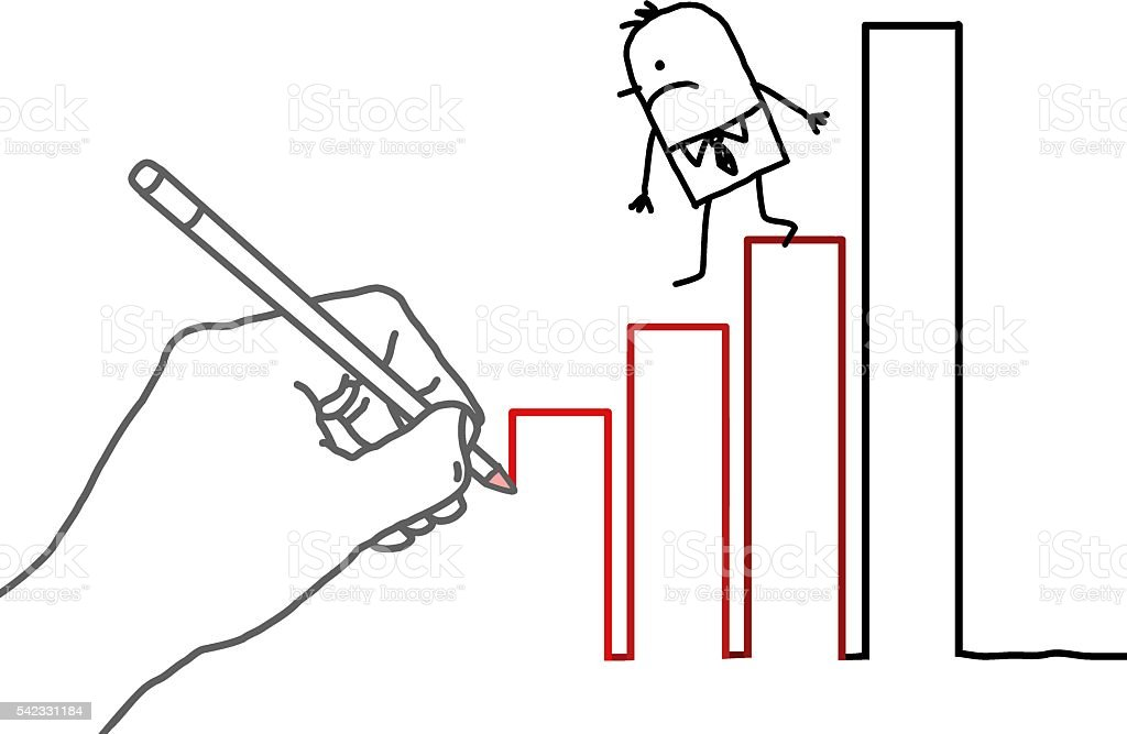 Drawing big hand and cartoon businessman - climbing down vector art illustration