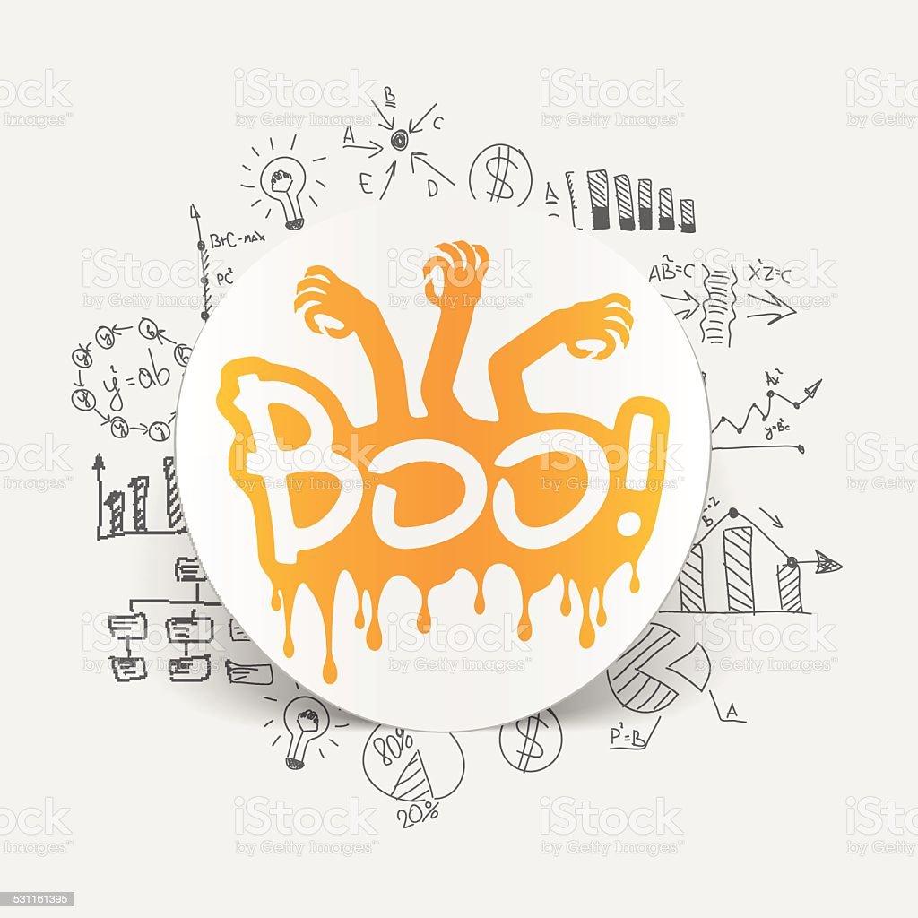 Drawing business formulas: boo vector art illustration