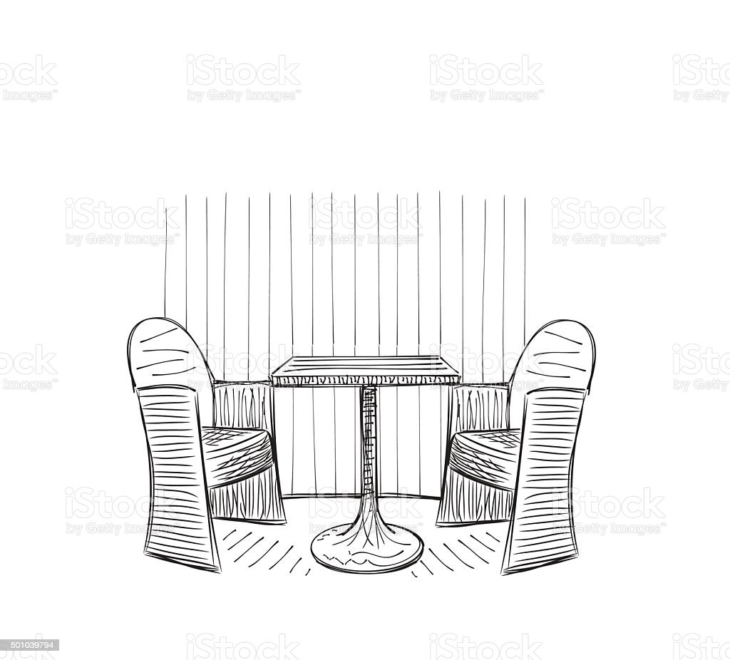 Cafe drawing interior - Drawing Cafe Interior Royalty Free Stock Vector Art