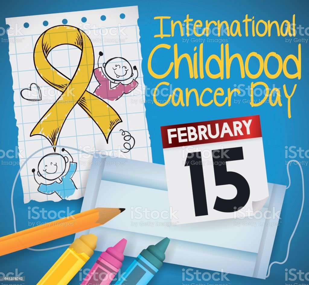 Drawing, Calendar, Mouth Cover and Colors for Childhood Cancer Day vector art illustration