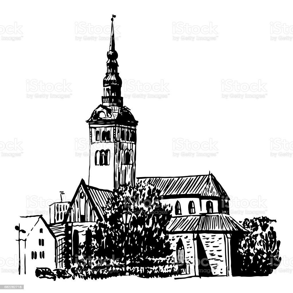 drawing cityscape of Tallinn sketch vector illustration vector art illustration