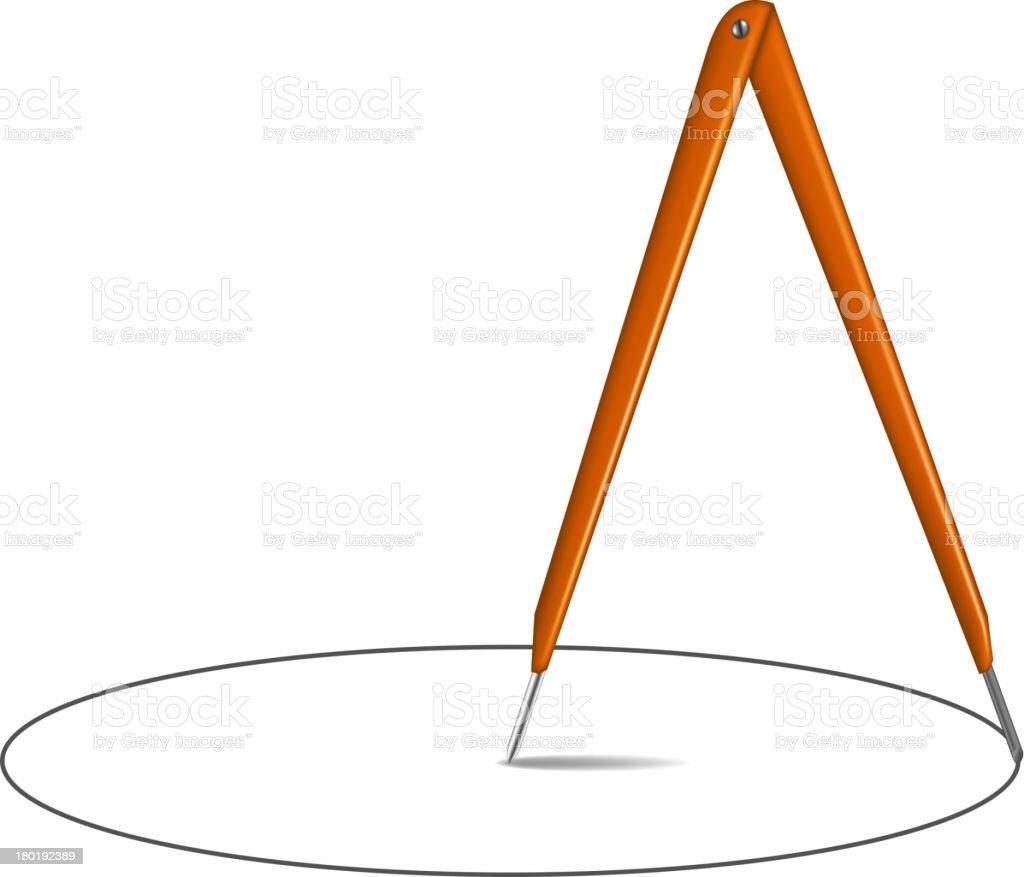 Drawing compass and circle royalty-free stock vector art