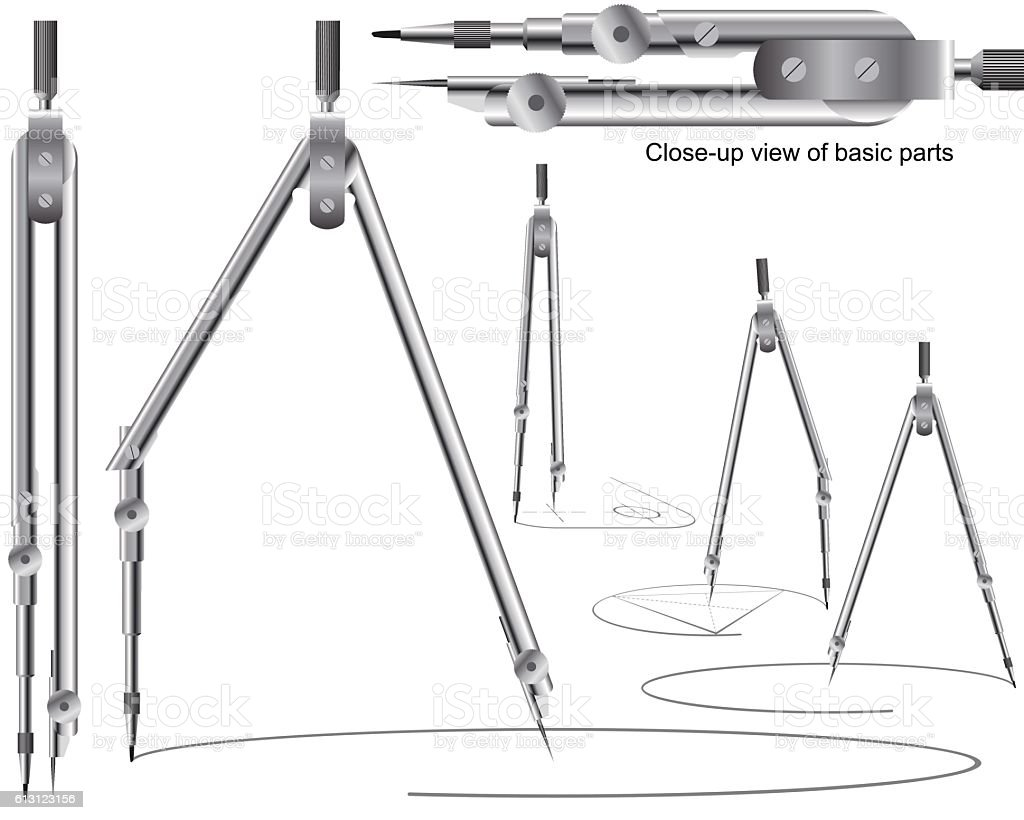 Drawing Compass Geometry Precision Tool Engineering Drafting Education Set vector art illustration