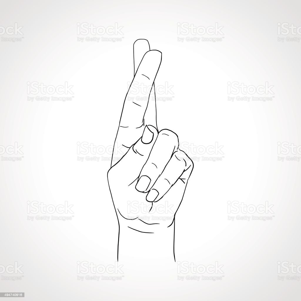 Drawing crossed fingers. Good luck hand gesture vector art illustration
