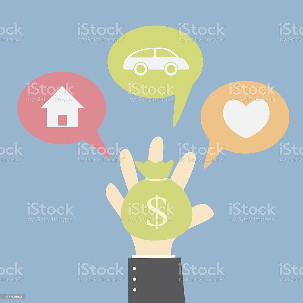 Drawing depicting budgeting choices vector art illustration