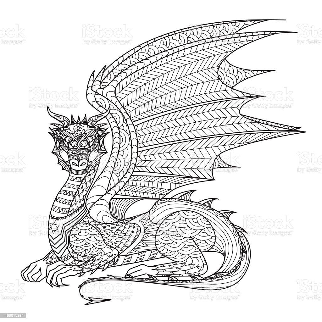 Afrique 2015 Adulte CMJN Colorier Dessin dragon pour livre