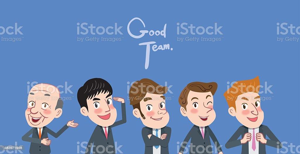 Drawing flat character design good team concept vector art illustration