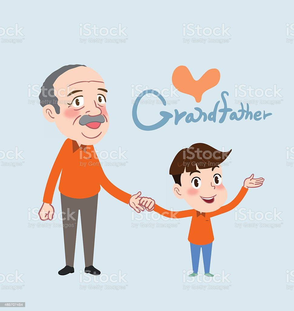 Drawing flat character design grand father and son concept vector art illustration