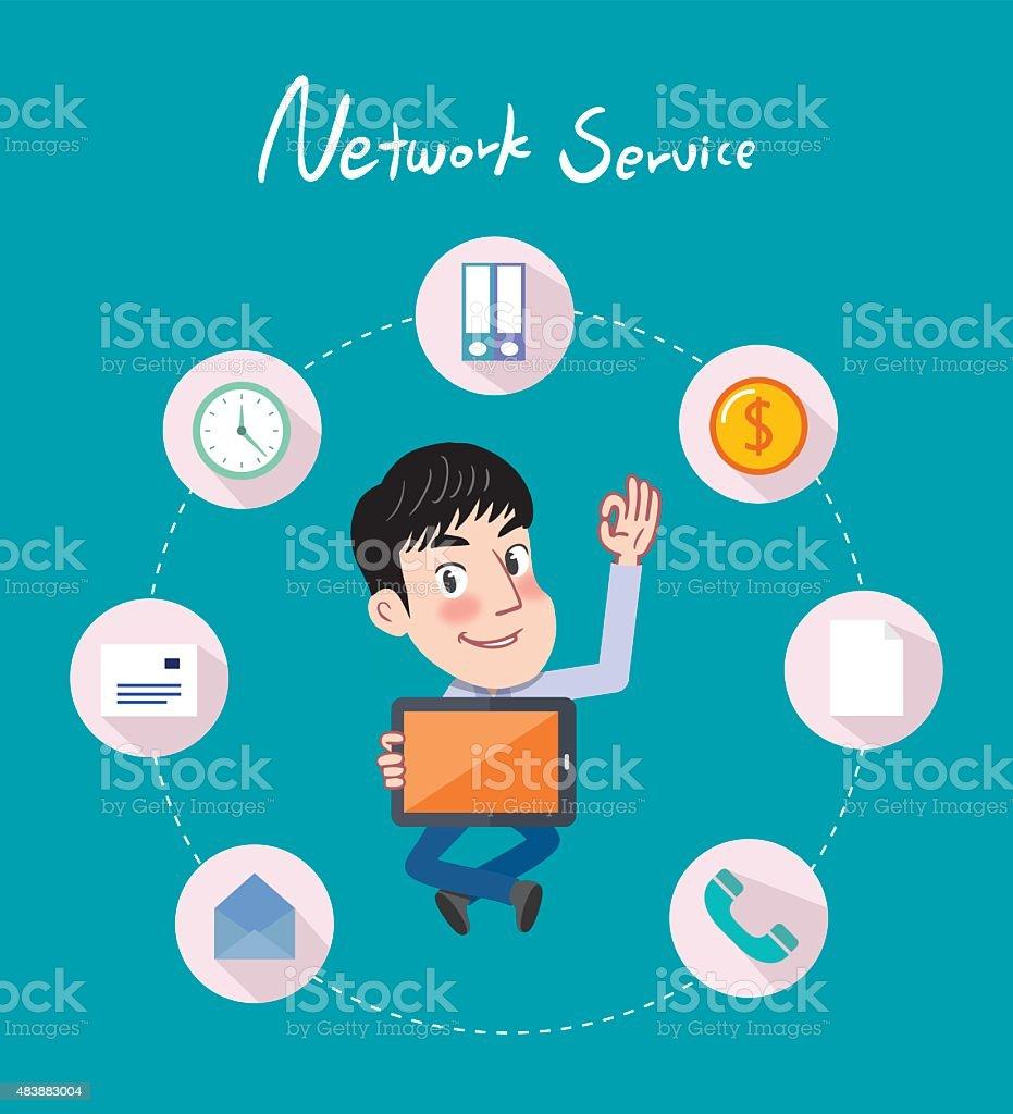 Drawing flat character design smart business concept vector art illustration