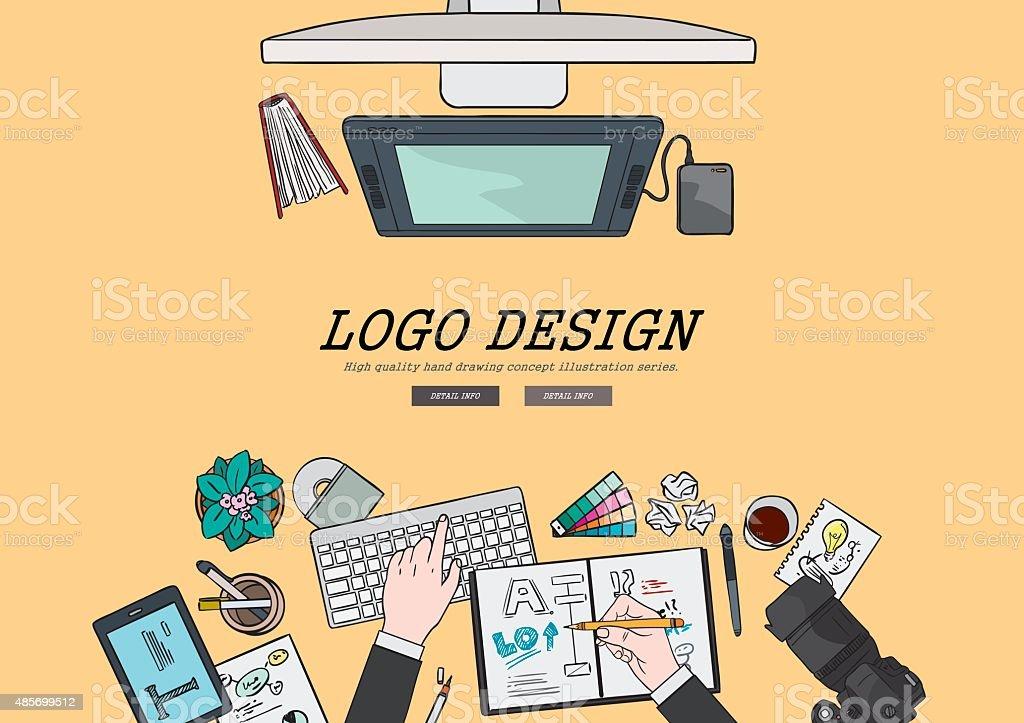 Drawing flat design illustration professional logo design concept. vector art illustration