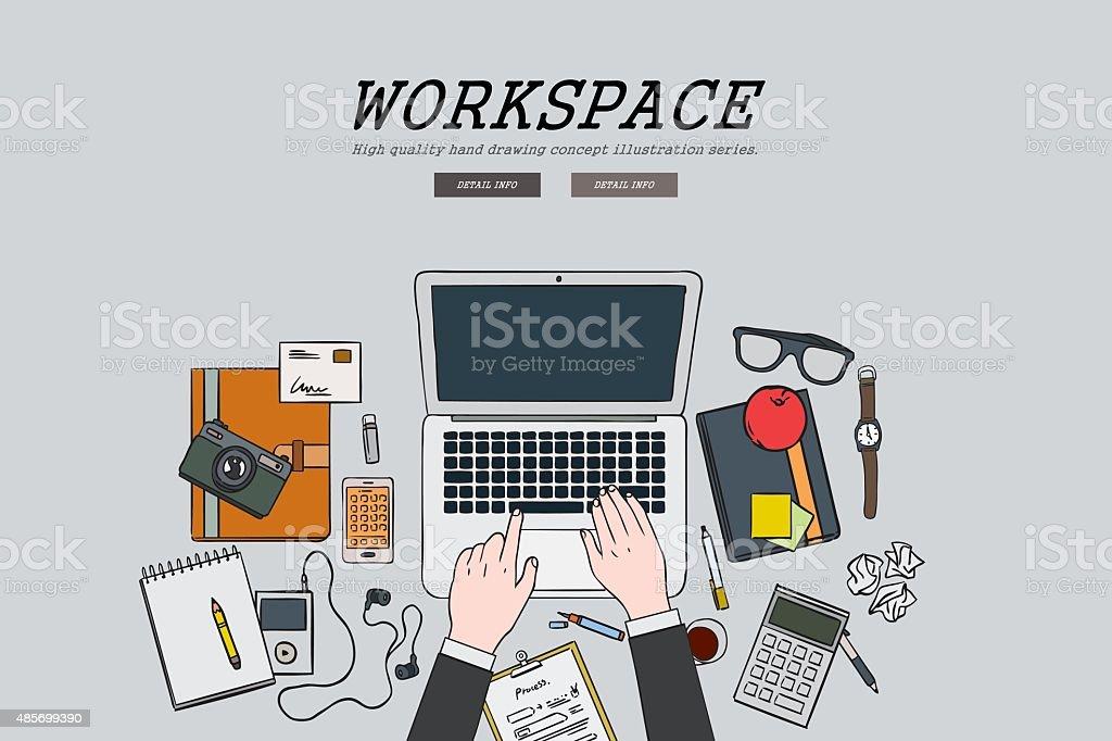 Drawing flat design illustration workspace concept,web banners, promotional materials vector art illustration