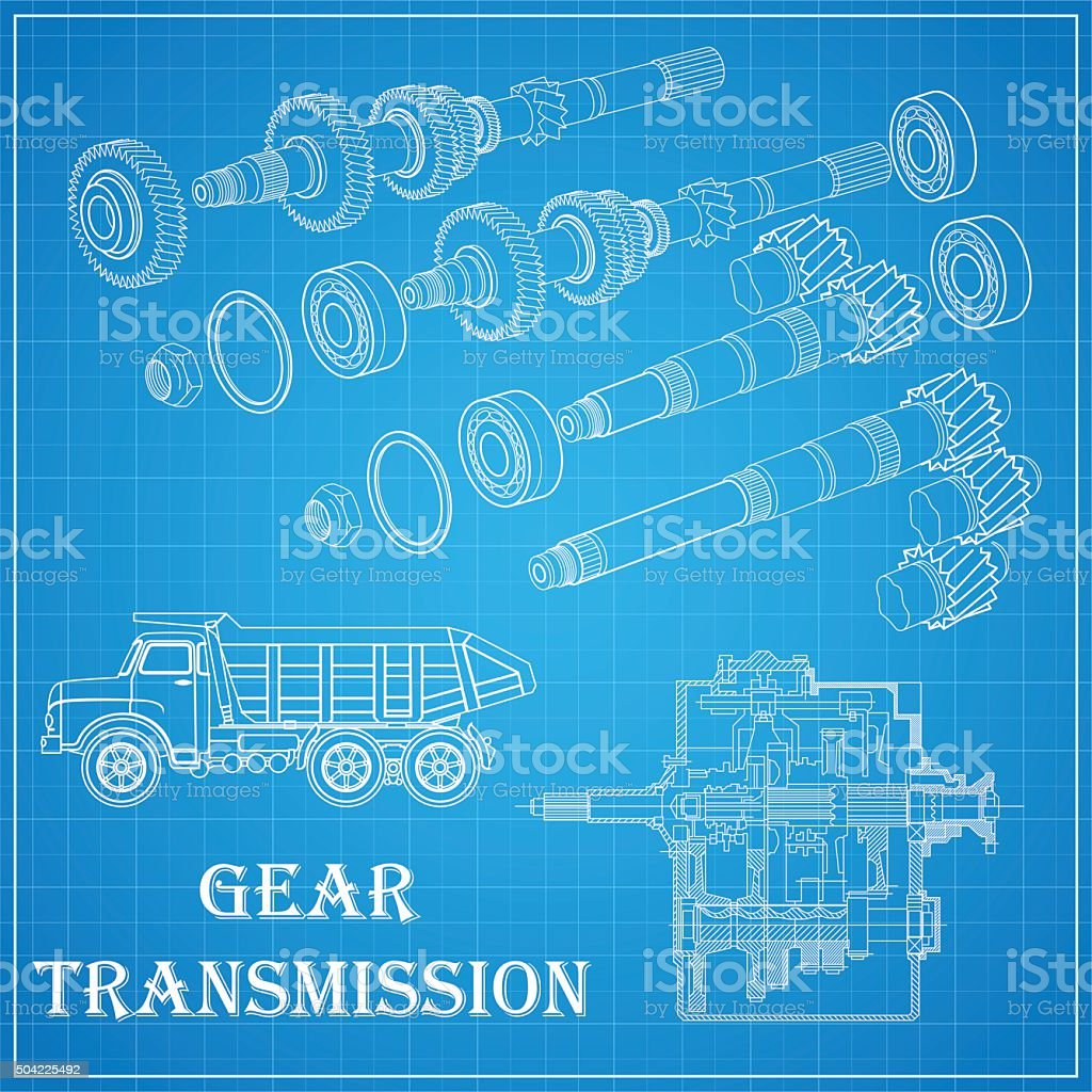 Drawing gear, shaft, bolt, nut and wheel on blue bacground vector art illustration