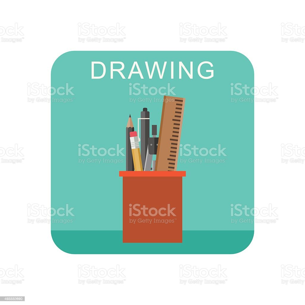 Drawing icon. vector art illustration