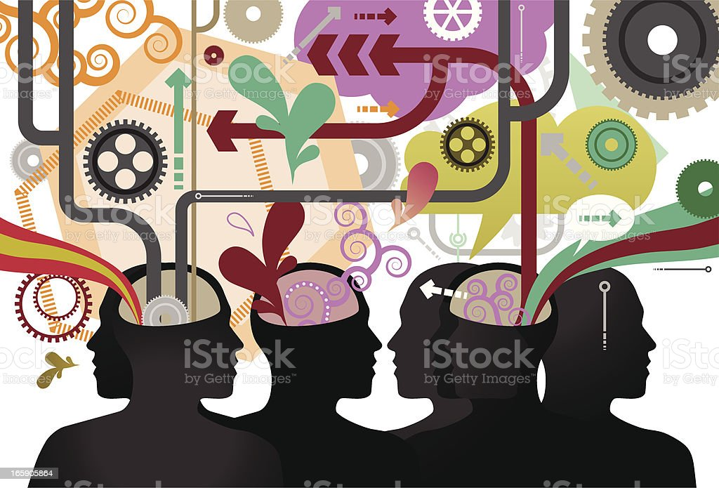 Drawing idea of open minds and many colors surrounding them royalty-free stock vector art