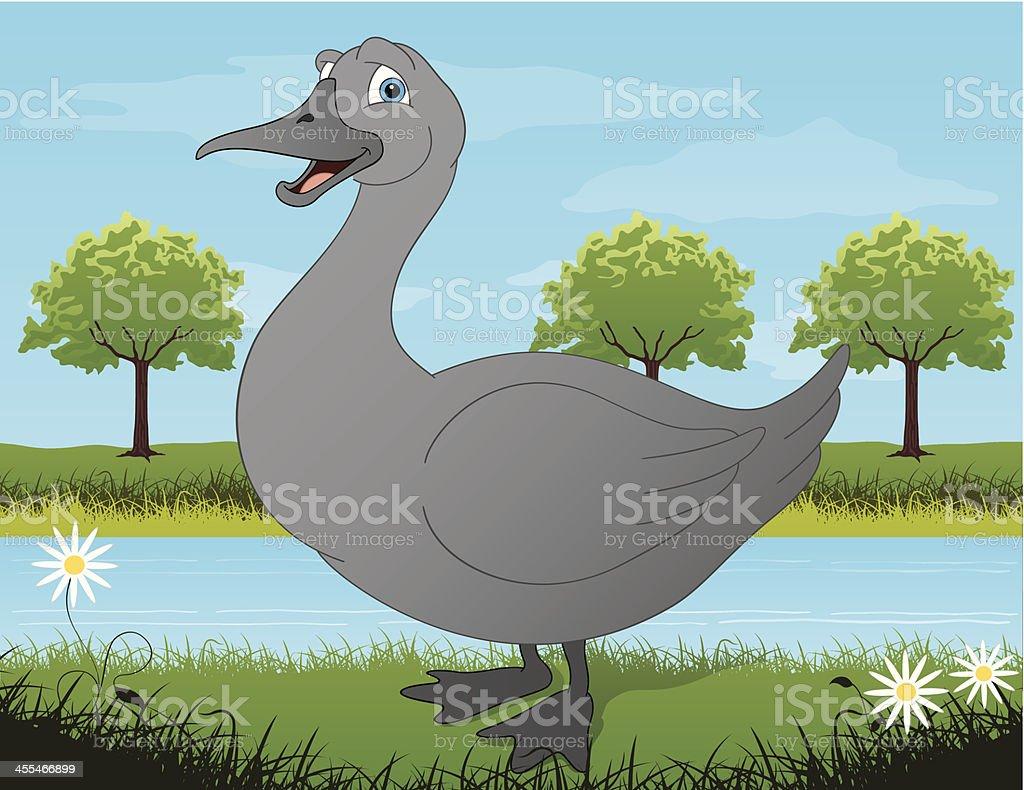 A drawing illustration of a gray goose vector art illustration
