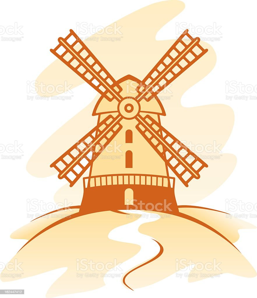 Drawing in shades of brown of a Dutch windmill royalty-free stock vector art