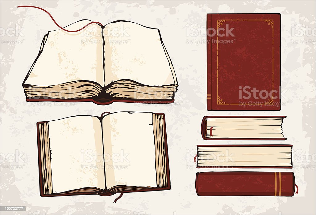 A drawing of 6 red books with built in red bookmark strings royalty-free stock vector art