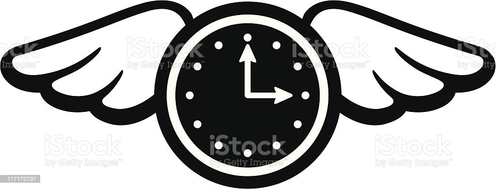 A drawing of a analog clock with wings pointing at 3 o'clock vector art illustration