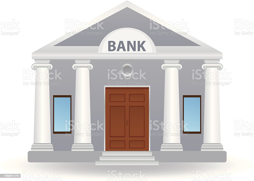 A drawing of a bank with white pillars and wooden doors royalty-free stock vector art