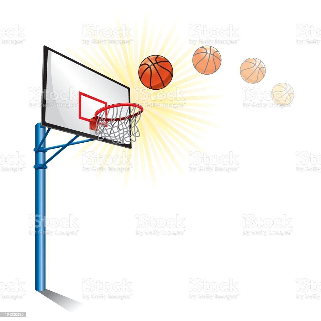 Drawing of a basketball falling into a basketball hoop  vector art illustration