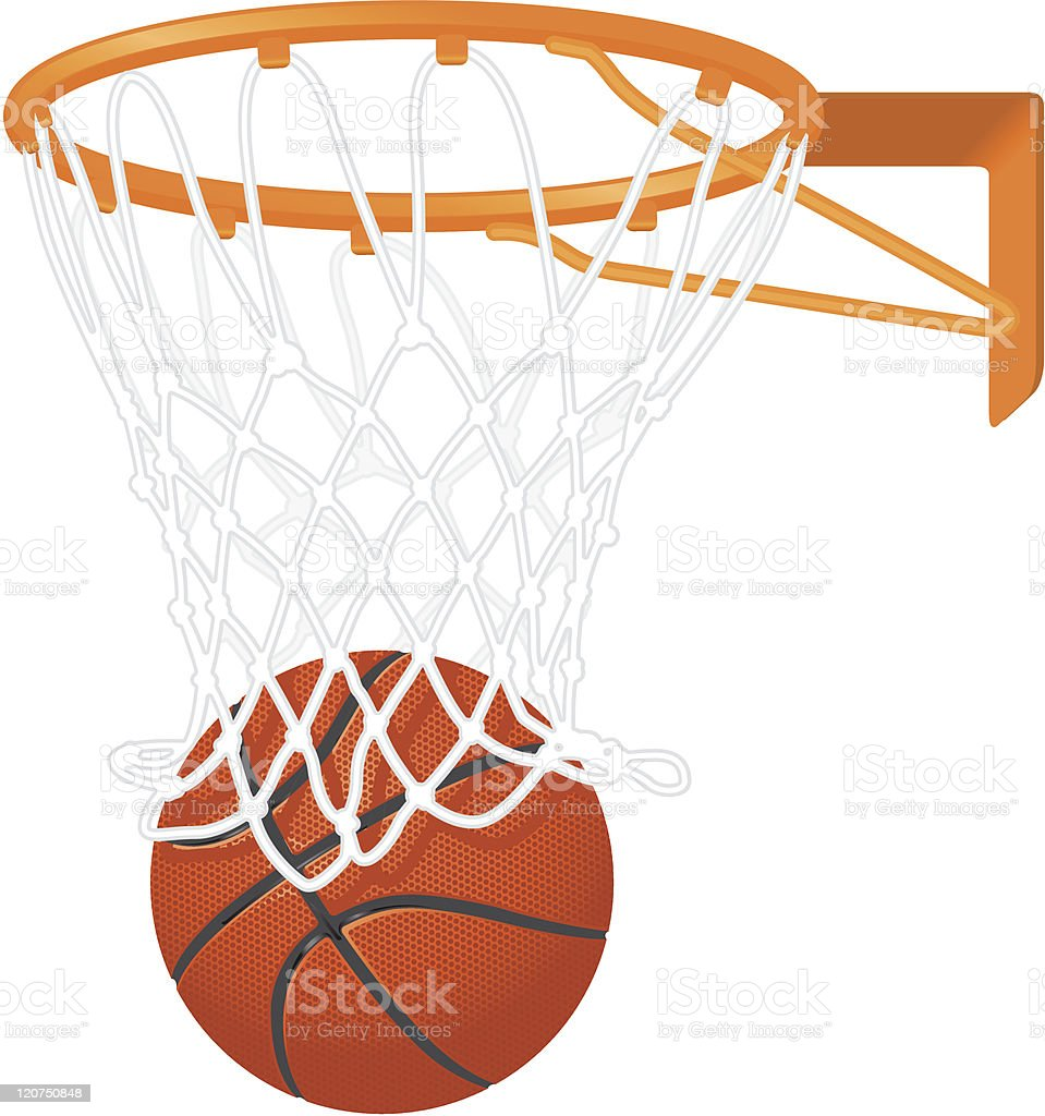 Drawing of a basketball going in a hoop vector art illustration