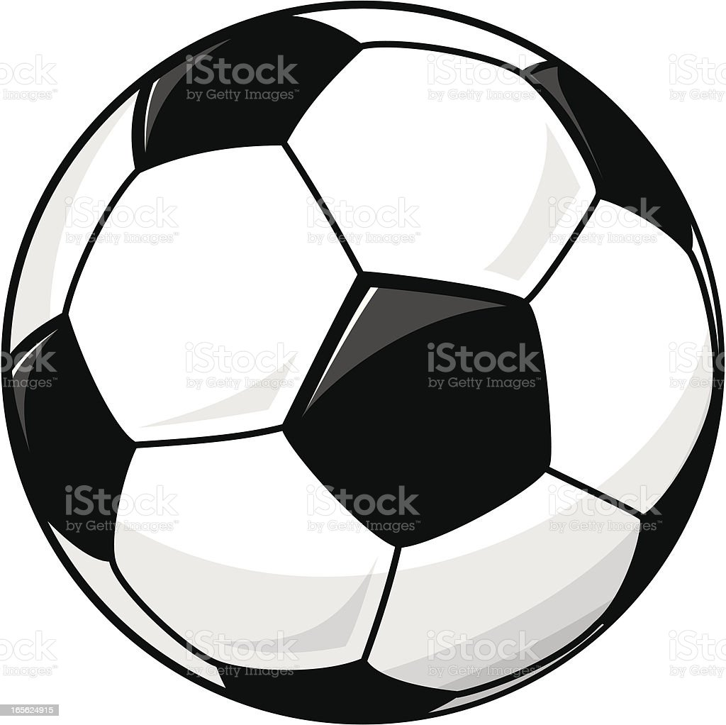 Drawing of a black and white soccer ball royalty-free stock vector art