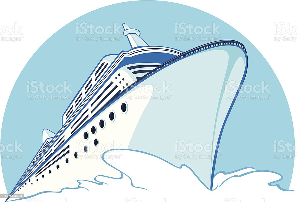 A drawing of a blue cruise ship vector art illustration