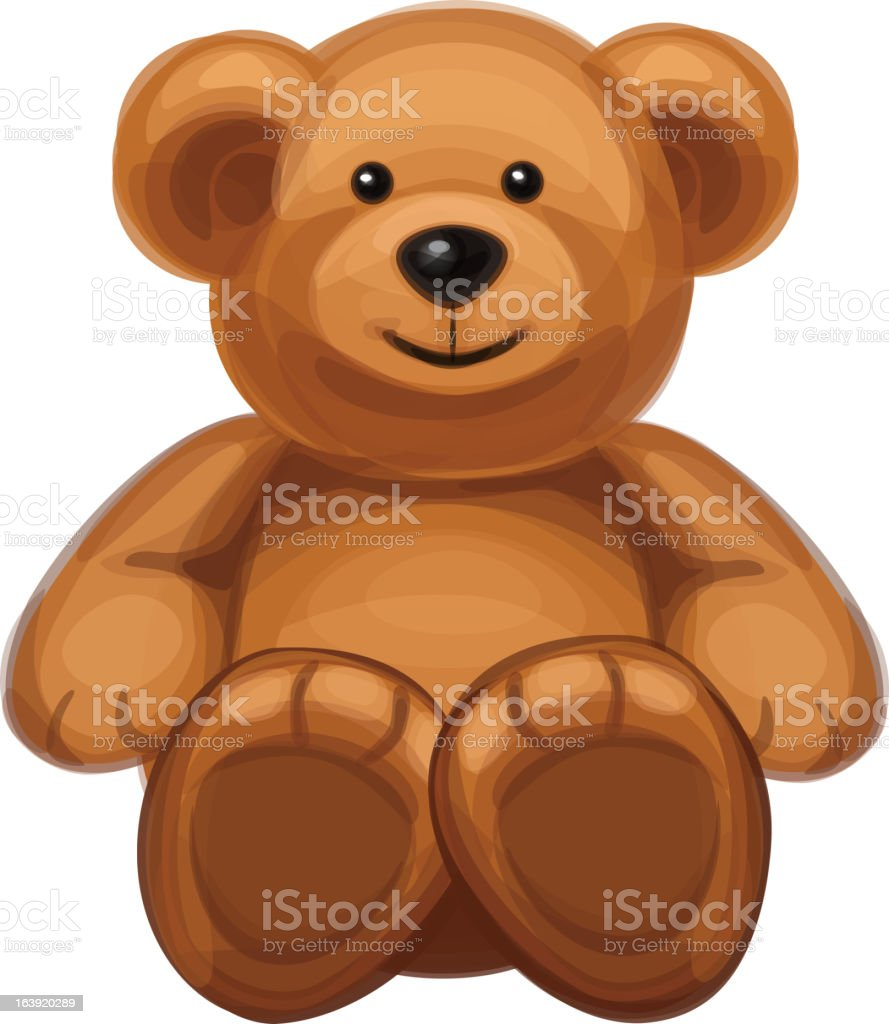 Drawing of a brown cuddly bear vector art illustration