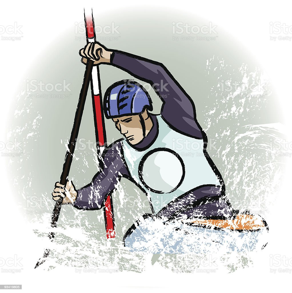 Drawing of a canoe player in dry chalkcharcoal pencil royalty-free stock vector art