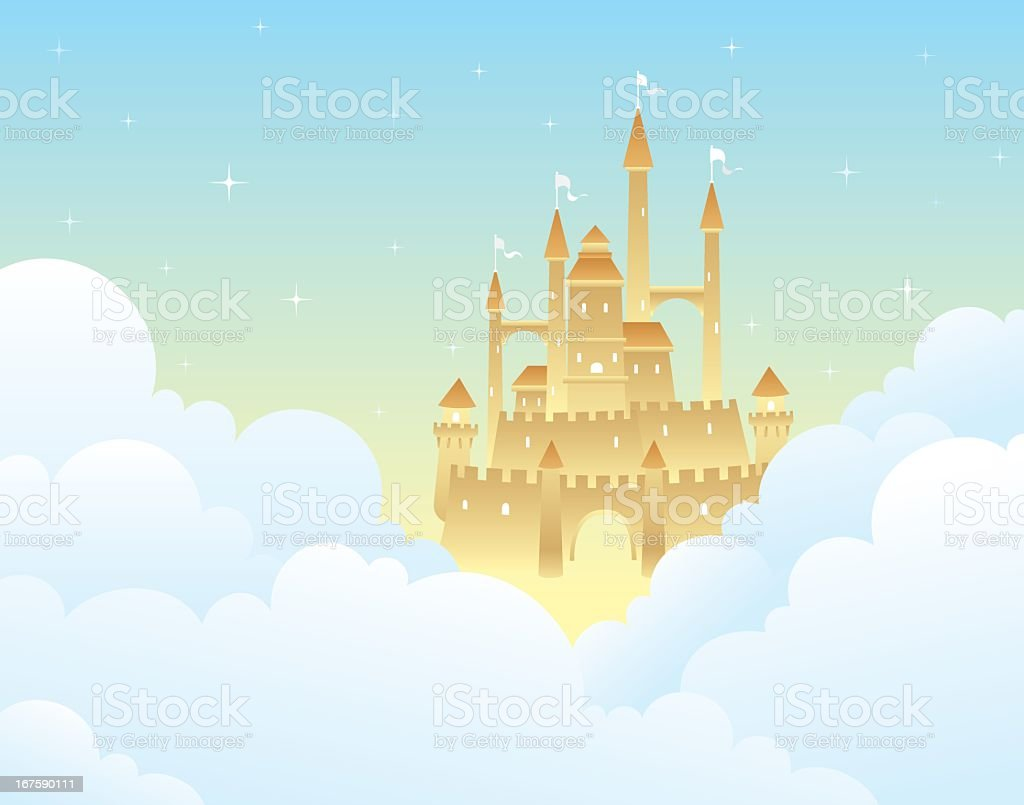 Drawing of a castle partially hidden by clouds royalty-free stock vector art