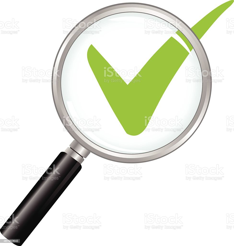 A drawing of a check mark with a magnifying glass over it  vector art illustration