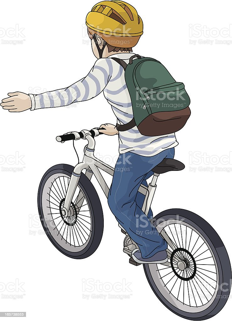 Drawing of a child riding a bike and signaling to turn left vector art illustration