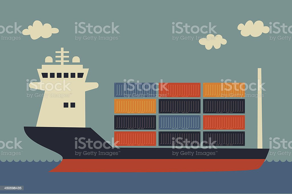 Drawing of a container ship filled with colorful containers royalty-free stock vector art