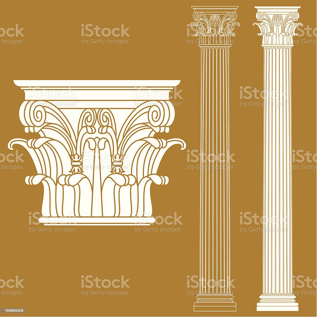A drawing of a couple of Corinthian columns royalty-free stock vector art