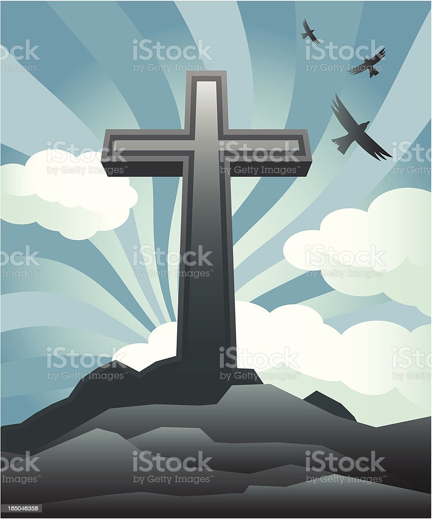 Drawing of a cross on top of a hill against the sky  royalty-free stock vector art