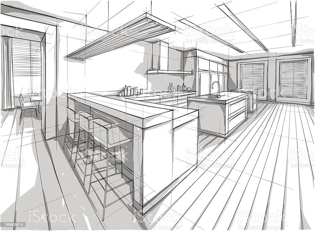 Drawing of a design for a interior home vector art illustration