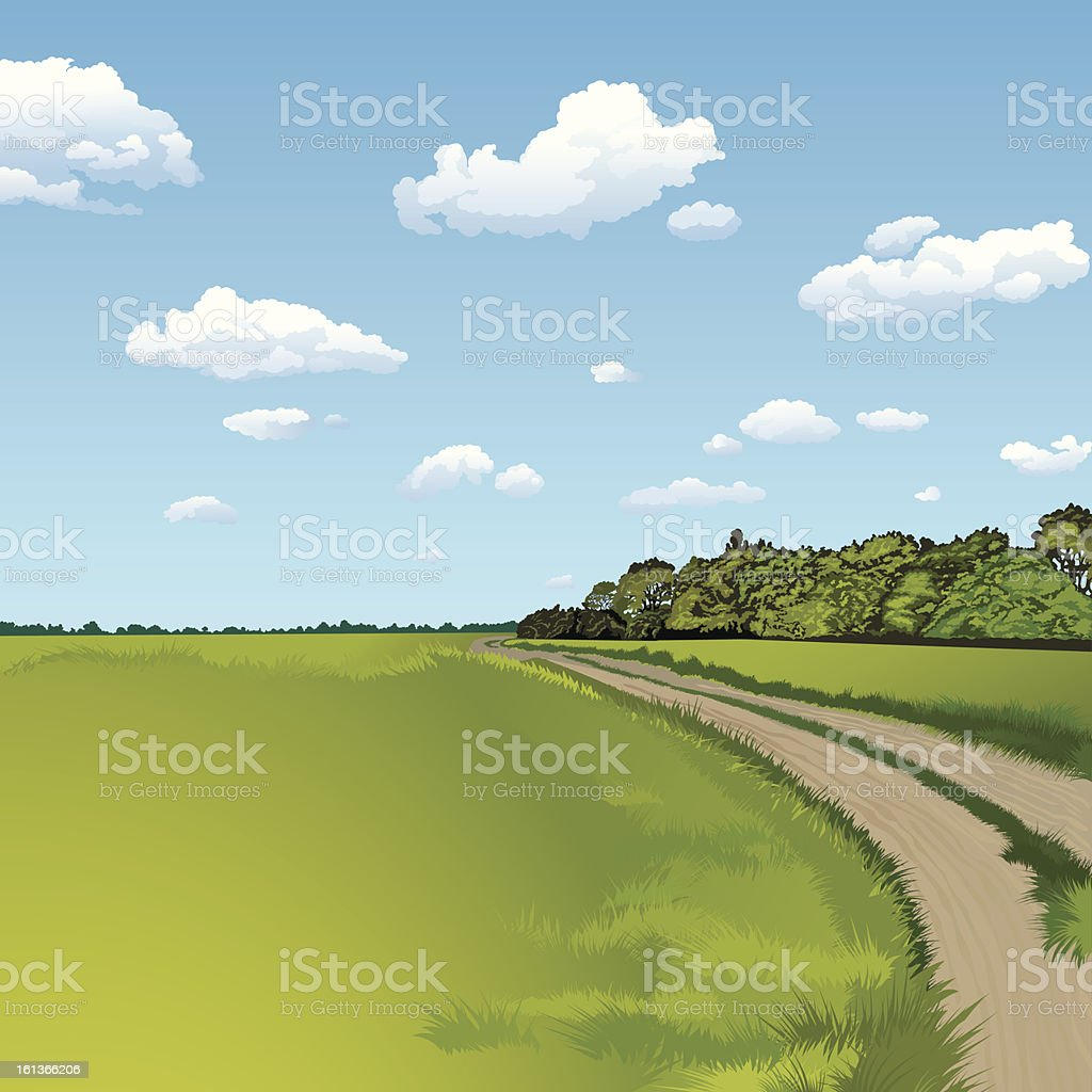 A drawing of a dirt road next to a green field vector art illustration