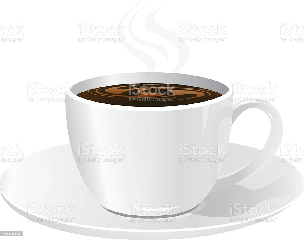 A drawing of a full cup of coffee on a saucer vector art illustration