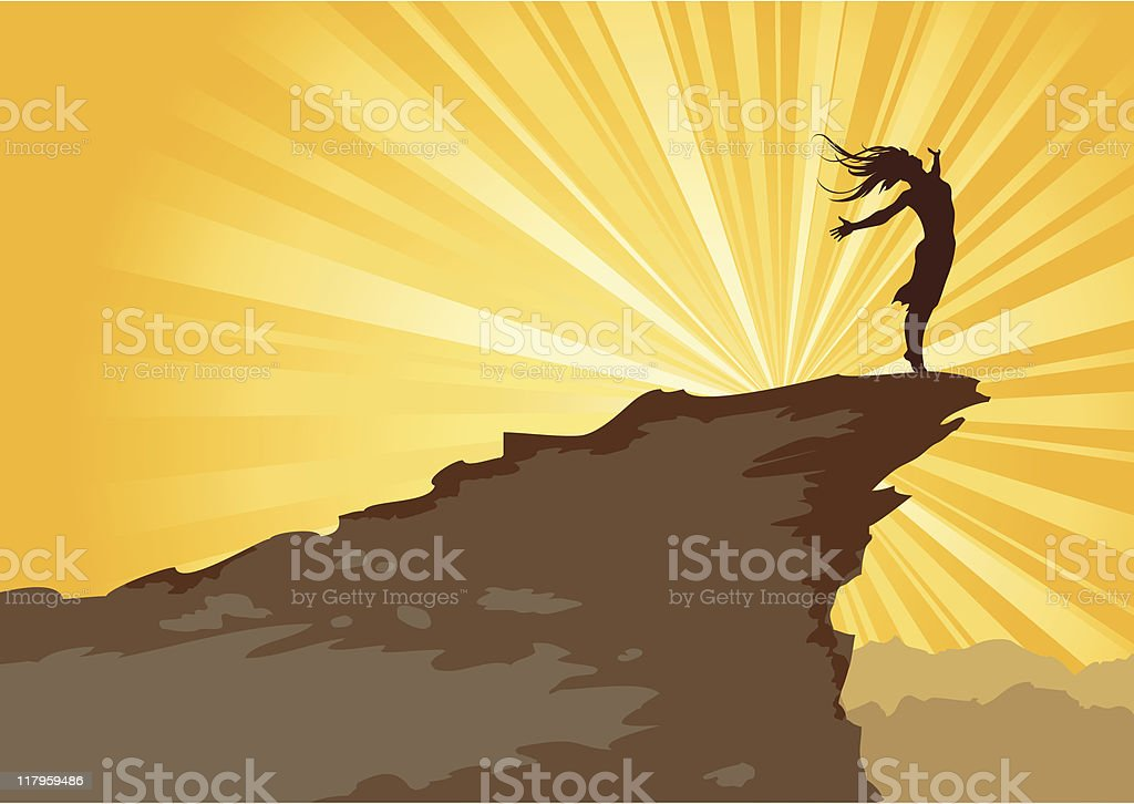Drawing of a girl blowing against the wind on a mountain vector art illustration