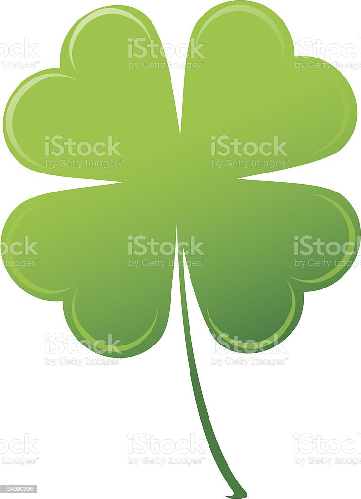 A drawing of a green four-leaf clover vector art illustration