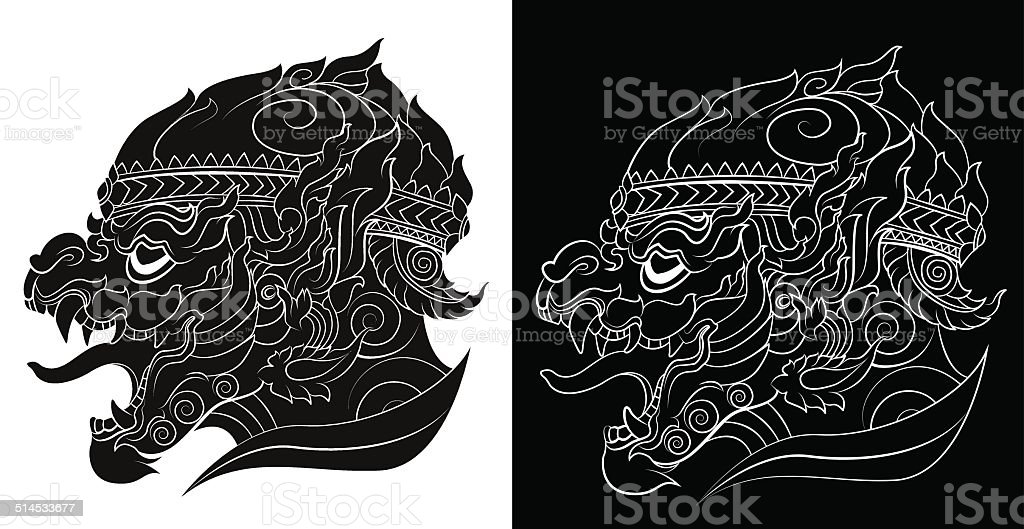 Drawing of a hanuman silhouetted on white background vector art illustration