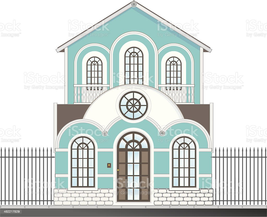 A drawing of a heritage Victoria era house vector art illustration
