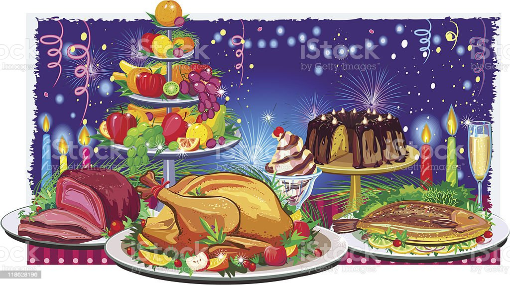 Drawing of a holiday dinner with turkey and champagne royalty-free stock vector art
