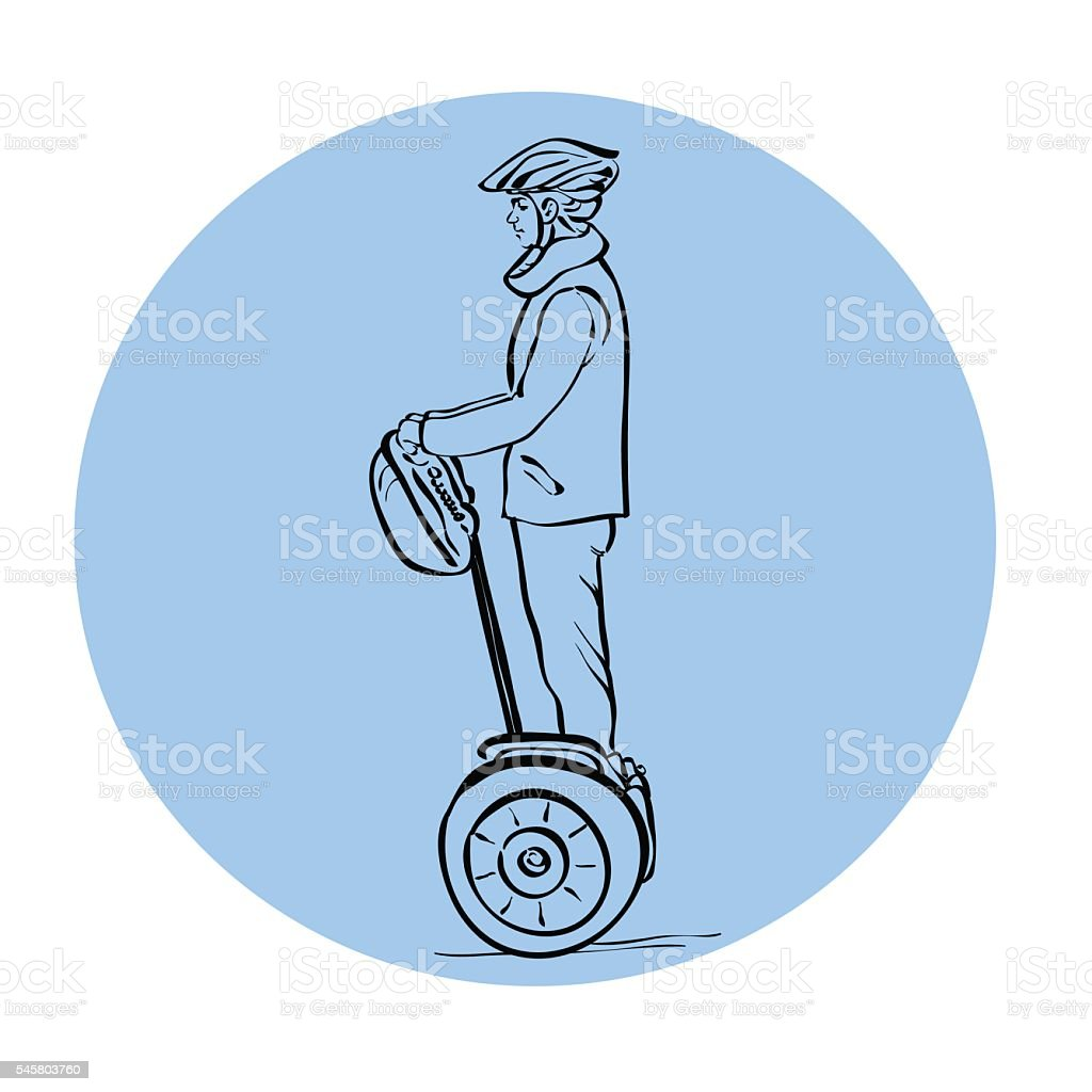 drawing of a man on a Segway vector art illustration