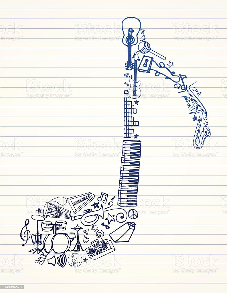 Drawing of a music note made of instruments vector art illustration